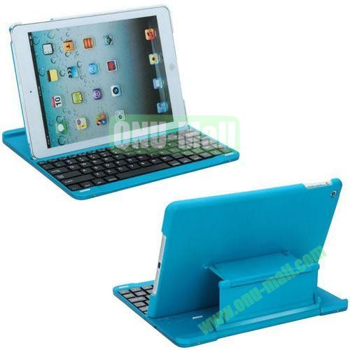 New Arrival Bluetooth Keyboard Leather Case for iPad Air (Blue)