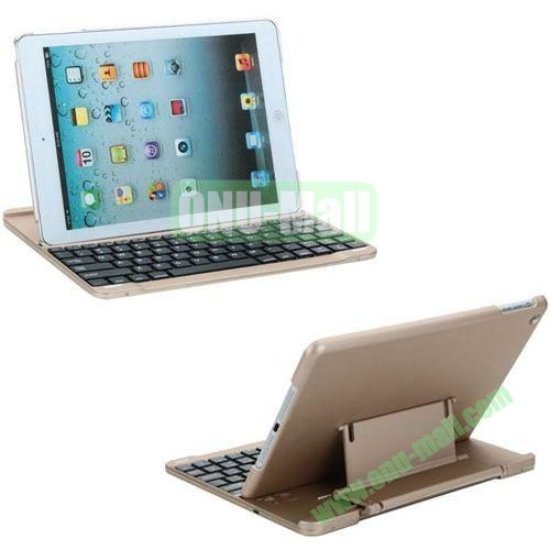 New Arrival Bluetooth Keyboard Leather Case for iPad Air (Gold)