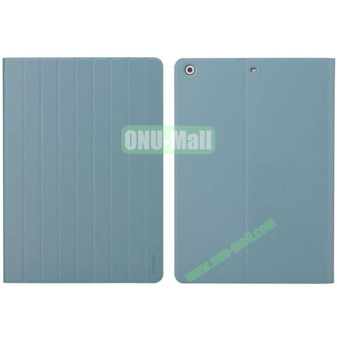New Arrival Rolling Stand Rock Leather Case for iPad Air (Blue)