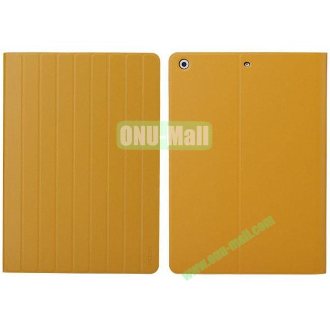 New Arrival Rolling Stand Rock Leather Case for iPad Air (Yellow)