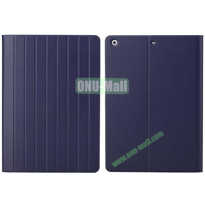 New Arrival Rolling Stand Rock Leather Case for iPad Air (Dark Blue)
