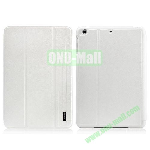 USAMS Starry Sky Series Litchee Texture 3 Folio Smart Cover for iPad Air (White)