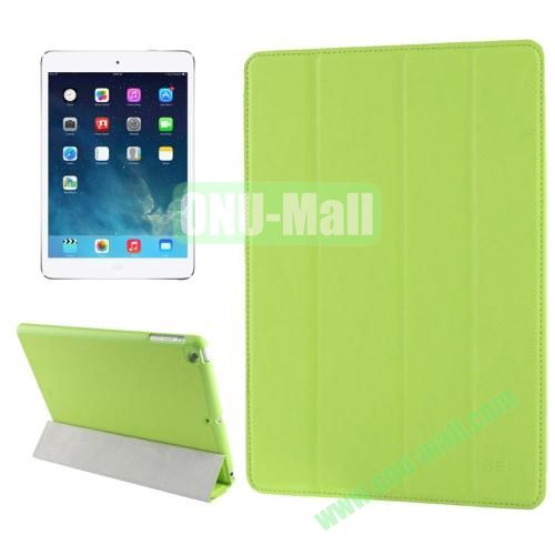 Belk Series 4-floding Holder Cross Texture Leather Case for iPad Air with Sleep & Wake-up Function (Green)