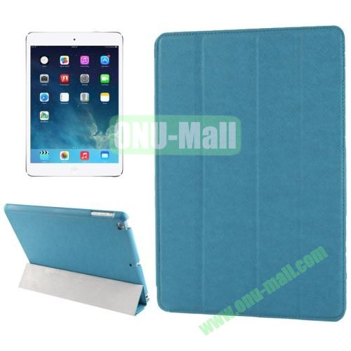 Belk Series 4-floding Holder Cross Texture Leather Case for iPad Air with Sleep & Wake-up Function (Blue)