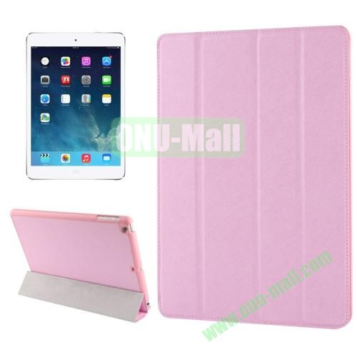 Belk Series 4-floding Holder Cross Texture Leather Case for iPad Air with Sleep & Wake-up Function (Hot Pink)