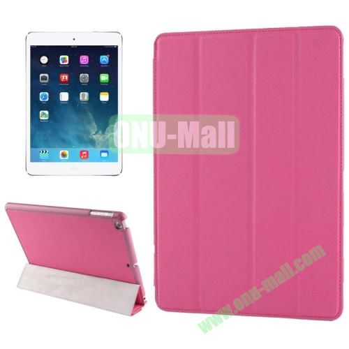 Belk Series 4-floding Holder Cross Texture Leather Case for iPad Air with Sleep & Wake-up Function (Pink)