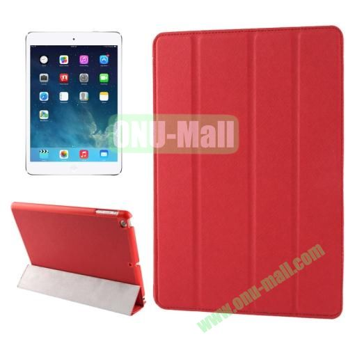 Belk Series 4-floding Holder Cross Texture Leather Case for iPad Air with Sleep & Wake-up Function (Red)