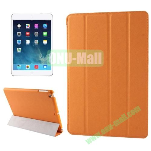 Belk Series 4-floding Holder Cross Texture Leather Case for iPad Air with Sleep & Wake-up Function (Orange)