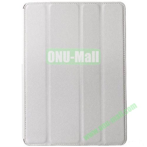 Silk Texture 4 Folding Leather Cover for iPad Air with Sleep Function (White)