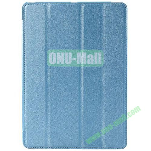 Silk Texture 4 Folding Leather Cover for iPad Air with Sleep Function (Blue)