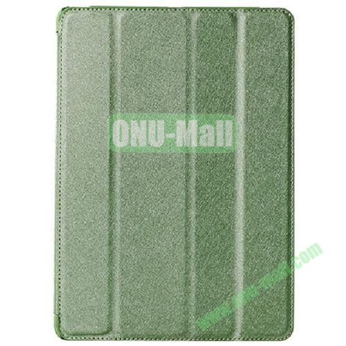Silk Texture 4 Folding Leather Cover for iPad Air with Sleep Function (Green)