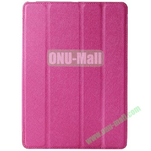 Silk Texture 4 Folding Leather Cover for iPad Air with Sleep Function (Rose)