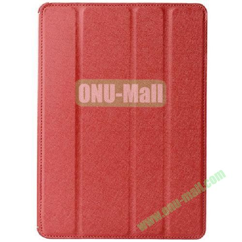 Silk Texture 4 Folding Leather Cover for iPad Air with Sleep Function (Red)