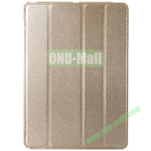 Silk Texture 4 Folding Leather Cover for iPad Air with Sleep Function (Silver)