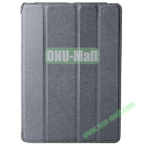 Silk Texture 4 Folding Leather Cover for iPad Air with Sleep Function (Grey)