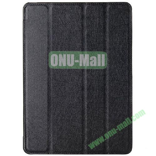 Silk Texture 4 Folding Leather Cover for iPad Air with Sleep Function (Black)