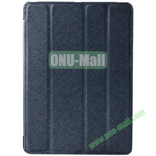 Silk Texture 4 Folding Leather Cover for iPad Air with Sleep Function (Dark Blue)
