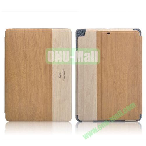 Kajsa Wood Pattern Side Flip Stand Leather Case with Card Slots for iPad Air (Light Brown)