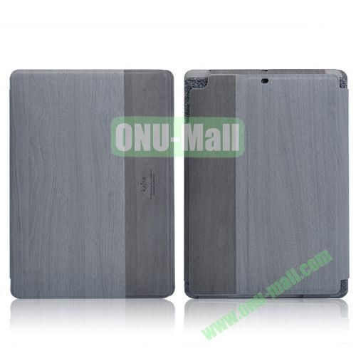 Kajsa Wood Pattern Side Flip Stand Leather Case with Card Slots for iPad Air (Grey)