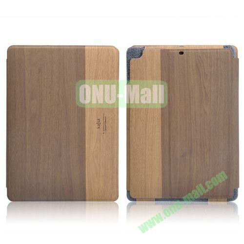 Kajsa Wood Pattern Side Flip Stand Leather Case with Card Slots for iPad Air (Coffee)