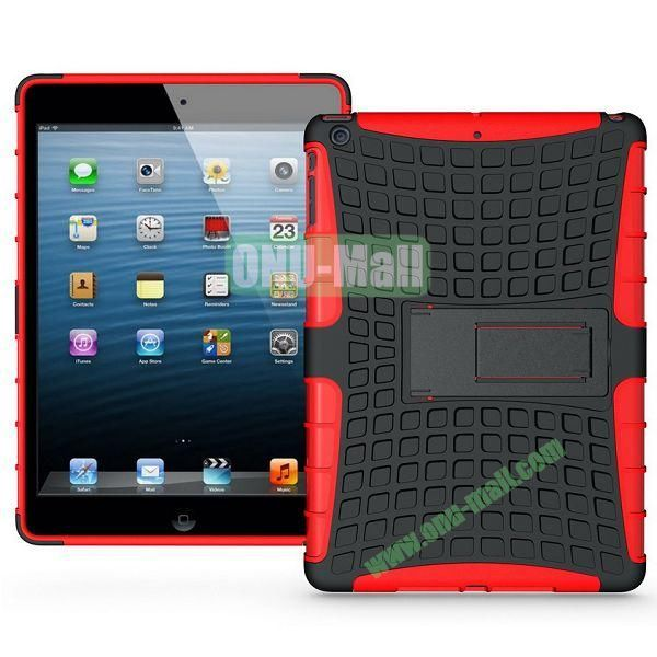 Protective PC+TPU Hybrid Case for iPad Air with Holder (Red)