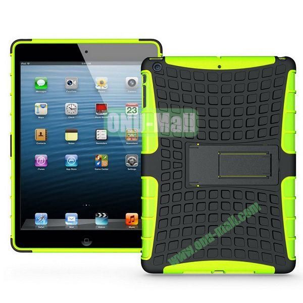 Protective PC+TPU Hybrid Case for iPad Air with Holder (Yellow)