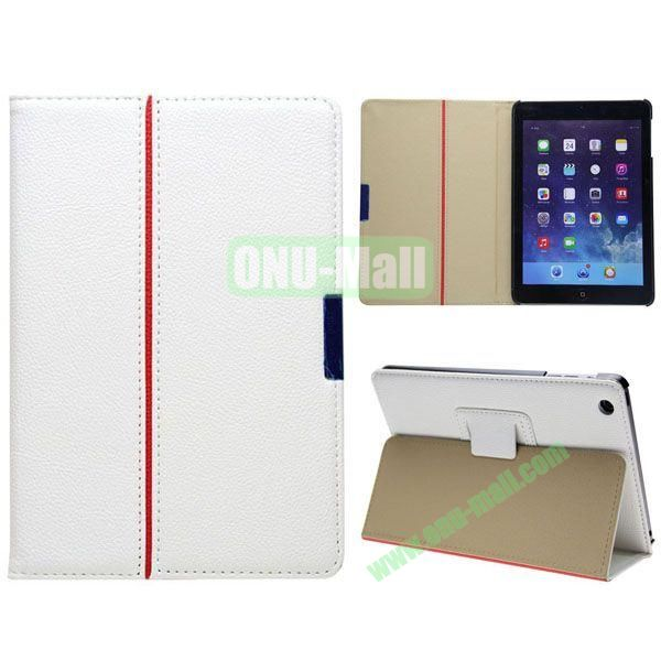 2 Folding Pattern Litchi Texture Leather Case for iPad Mini with Stand (White)