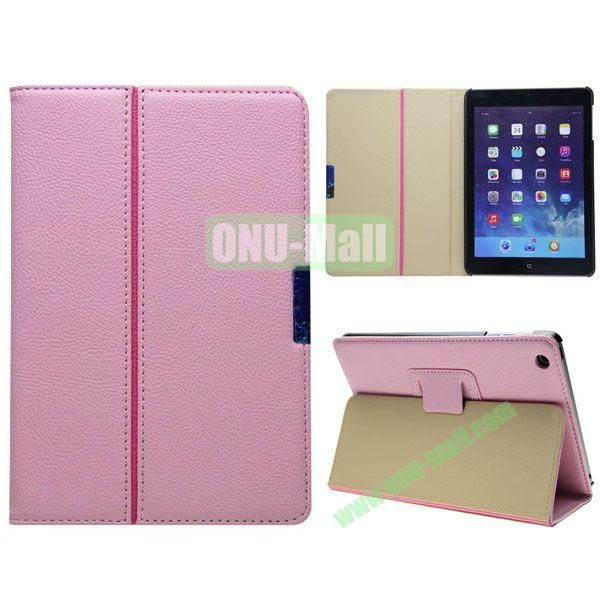 2 Folding Pattern Litchi Texture Leather Case for iPad Mini with Stand (Pink)