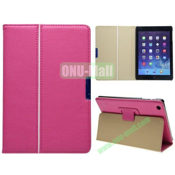 2 Folding Pattern Litchi Texture Leather Case for iPad Mini with Stand (Rose)