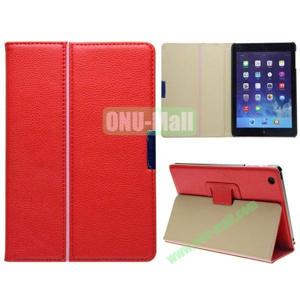 2 Folding Pattern Litchi Texture Leather Case for iPad Mini with Stand (Red)