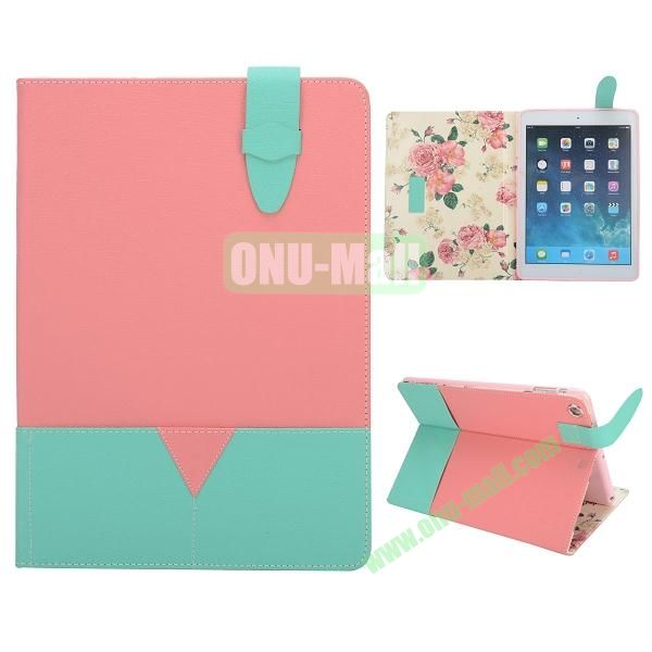 Oracle Bone Texture Double-color Wallet Leather Cover for iPad Air(Pink+Green)