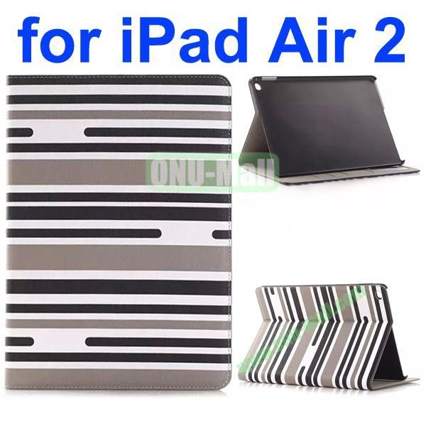 Horizontal Stripe Pattern Flip Stand Leather Case for iPad Air 2iPad 6 with Card Slots (White+Black+Gray)