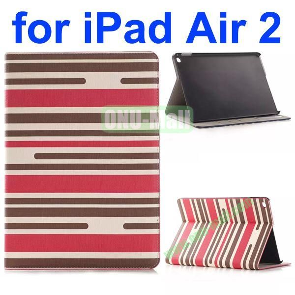 Horizontal Stripe Pattern Flip Stand Leather Case for iPad Air 2iPad 6 with Card Slots (White+Black+Rose)