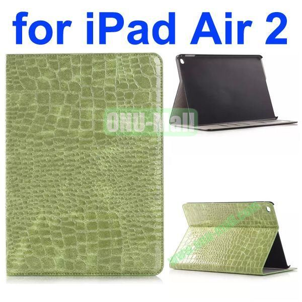 Crocodile Texture Flip Stand Leather Case for iPad Air 2iPad 6 with Card Slots (Green)