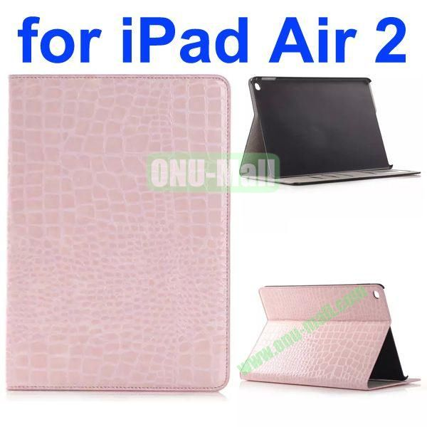 Crocodile Texture Flip Stand Leather Case for iPad Air 2iPad 6 with Card Slots (Pink)