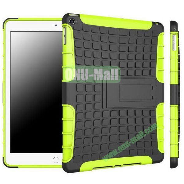 Antiskid 2 in 1 Hybrid TPU and PC Case for iPad Air 2iPad 6 with Kickstand (Black+Green)