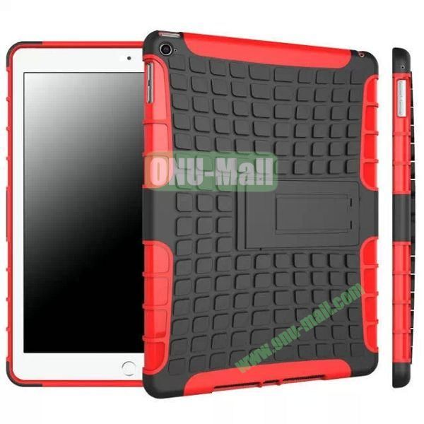 Antiskid 2 in 1 Hybrid TPU and PC Case for iPad Air 2iPad 6 with Kickstand (Black+Red)