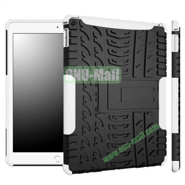 Antiskid Tyre Texture 2 in 1 Hybrid Silicone and PC Case for iPad Air 2iPad 6 with Kickstand (Black+White)