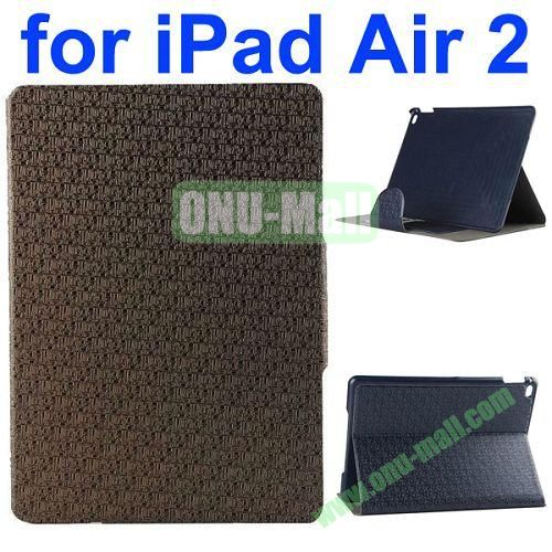 New Arrival Maze Pattern Flip PU Leather Case for iPad Air 2 iPad 6 with Stand and Card Slots (Coffee)
