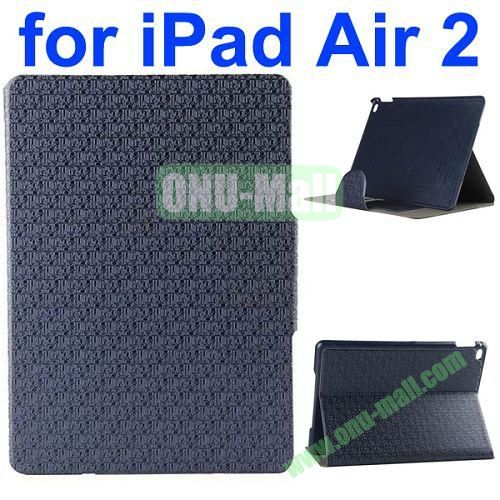 New Arrival Maze Pattern Flip PU Leather Case for iPad Air 2 iPad 6 with Stand and Card Slots (Blue)