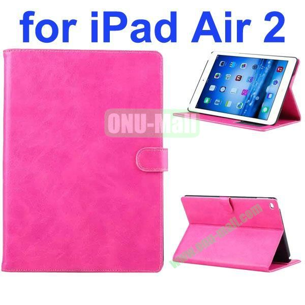 Crazy Horse Texture Oil Coated Flip PU Leather Case for iPad Air 2iPad 6 (Rose)