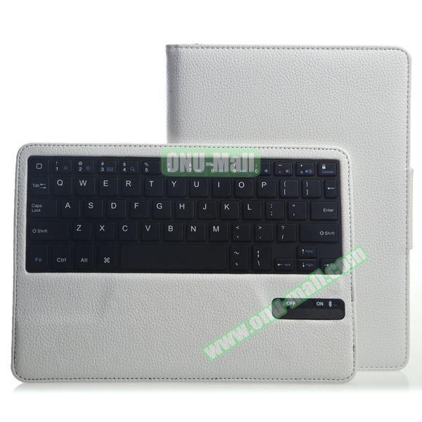 Litchi Pattern Bluetooth Keyboard Leather Case for iPad Air 2 with Sleep and Wakeup Function (White)