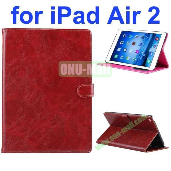 Crazy Horse Texture Oil Coated Flip PU Leather Case for iPad Air 2iPad 6 (Dark Brown)