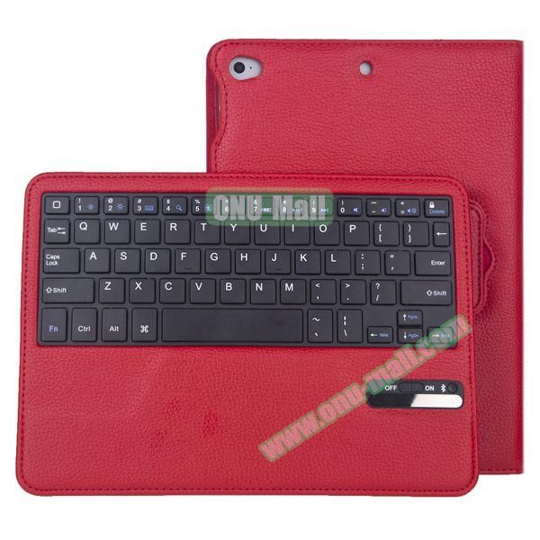 Litchi Pattern Bluetooth Keyboard Leather Case for iPad Air 2 with Sleep and Wakeup Function (Red)