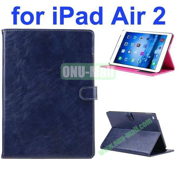 Crazy Horse Texture Oil Coated Flip PU Leather Case for iPad Air 2iPad 6 (Dark Blue)