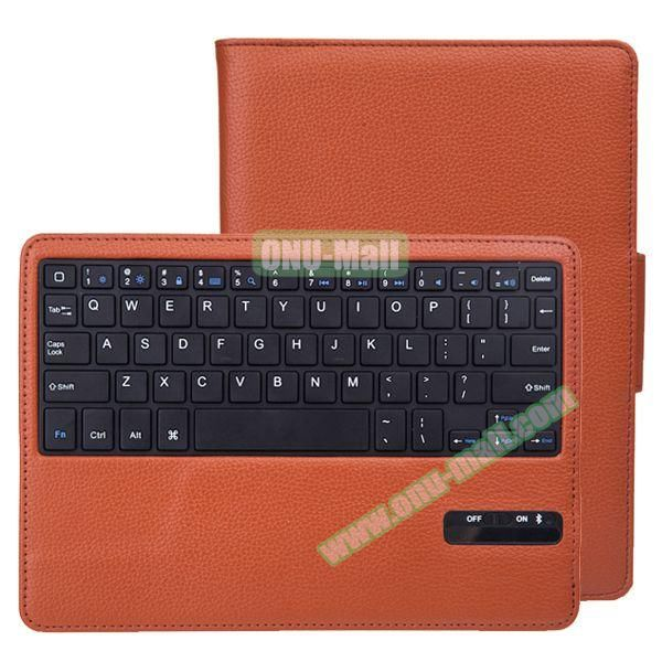 Litchi Pattern Bluetooth Keyboard Leather Case for iPad Air 2 with Sleep and Wakeup Function (Brown)
