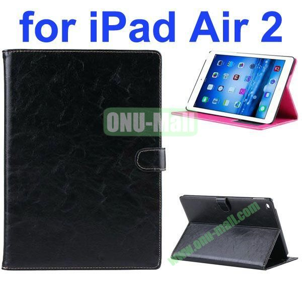 Crazy Horse Texture Oil Coated Flip PU Leather Case for iPad Air 2iPad 6 (Black)