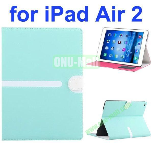 Cross Texture Mix Color Leather Case for iPad Air 2 with Card Slots and Photo Slots (Light Blue)