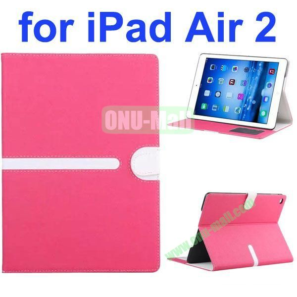 Cross Texture Mix Color Leather Case for iPad Air 2 with Card Slots and Photo Slots (Rose)
