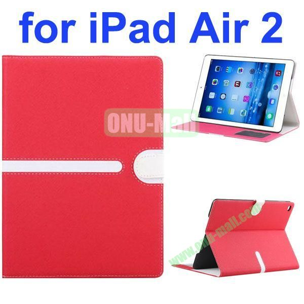 Cross Texture Mix Color Leather Case for iPad Air 2 with Card Slots and Photo Slots (Red)